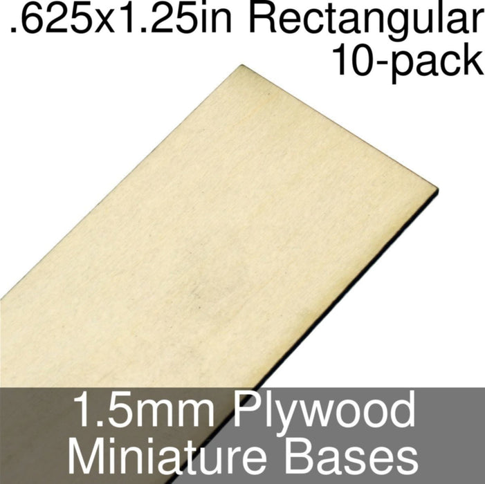 Miniature Bases, Rectangular, .625x1.25inch, 1.5mm Plywood (10) - LITKO Game Accessories