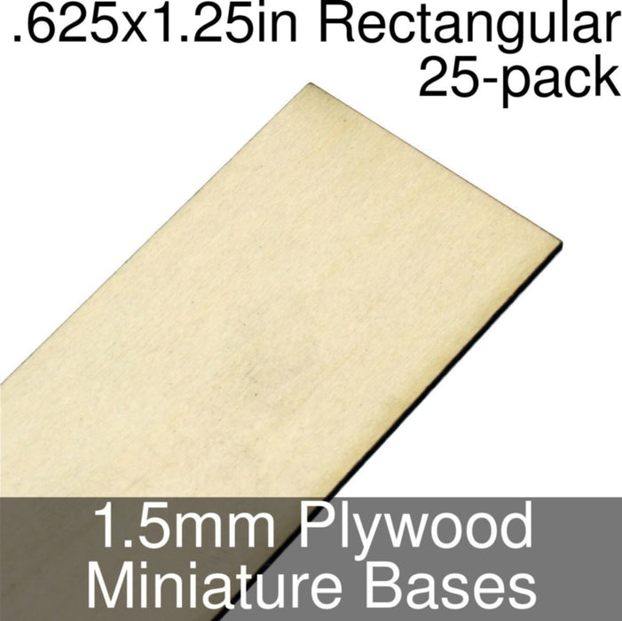 Miniature Bases, Rectangular, .625x1.25inch, 1.5mm Plywood (25) - LITKO Game Accessories