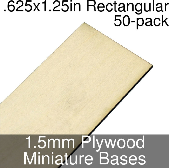 Miniature Bases, Rectangular, .625x1.25inch, 1.5mm Plywood (50) - LITKO Game Accessories