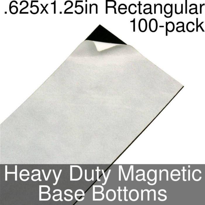 Miniature Base Bottoms, Rectangular, .625x1.25inch, Heavy Duty Magnet (100) - LITKO Game Accessories