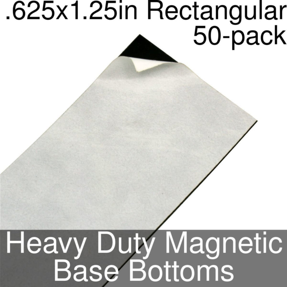 Miniature Base Bottoms, Rectangular, .625x1.25inch, Heavy Duty Magnet (50) - LITKO Game Accessories