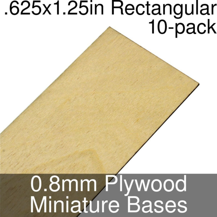 Miniature Bases, Rectangular, .625x1.25inch, 0.8mm Plywood (10) - LITKO Game Accessories