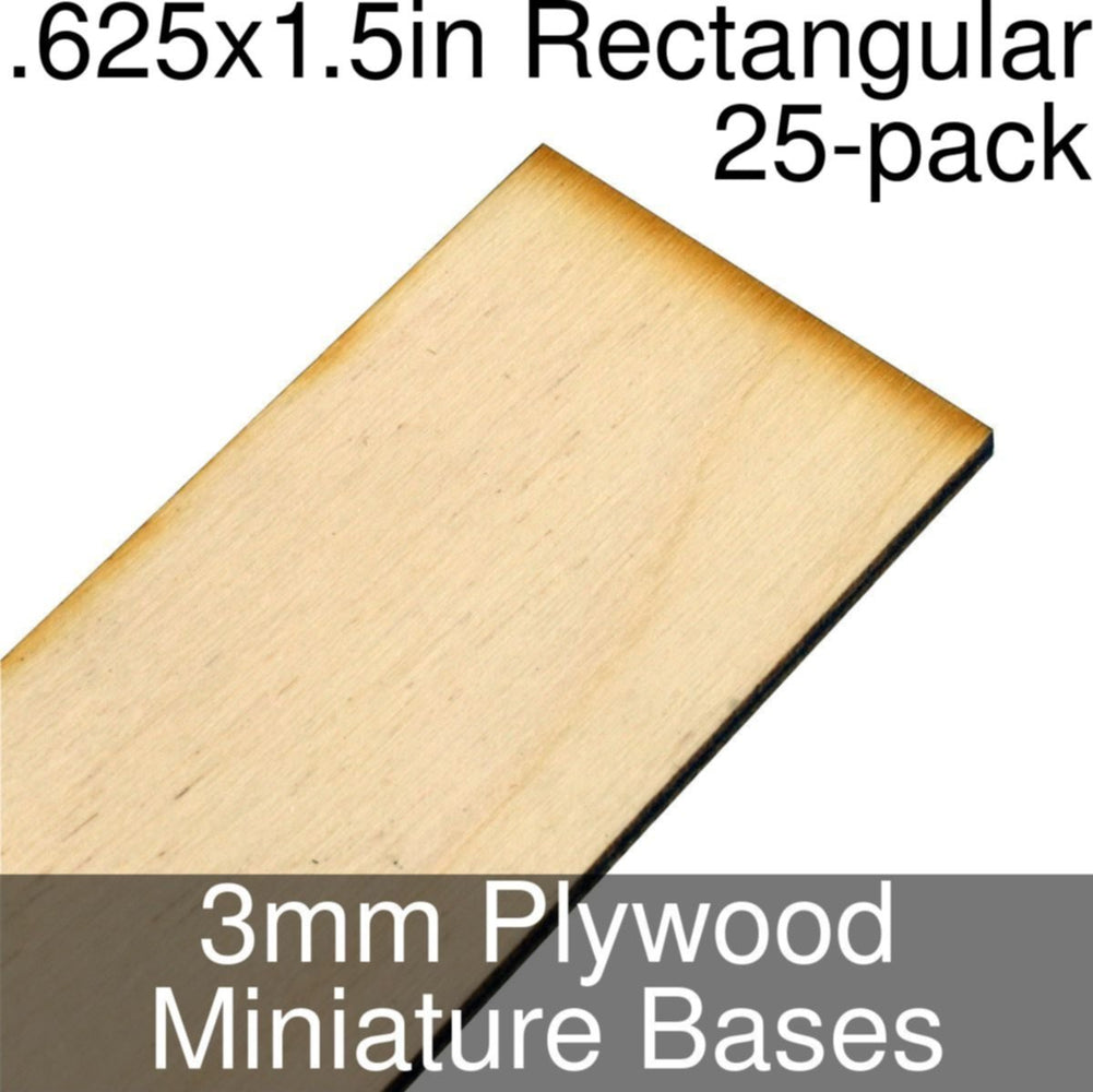 Miniature Bases, Rectangular, .625x1.5inch, 3mm Plywood (25) - LITKO Game Accessories