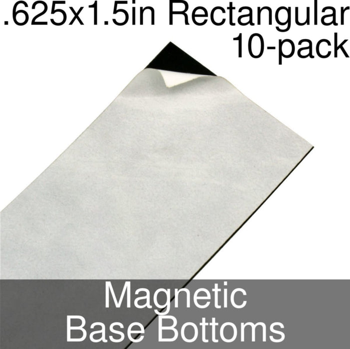 Miniature Base Bottoms, Rectangular, .625x1.5inch, Magnet (10) - LITKO Game Accessories