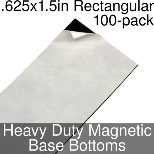 Miniature Base Bottoms, Rectangular, .625x1.5inch, Heavy Duty Magnet (100) - LITKO Game Accessories