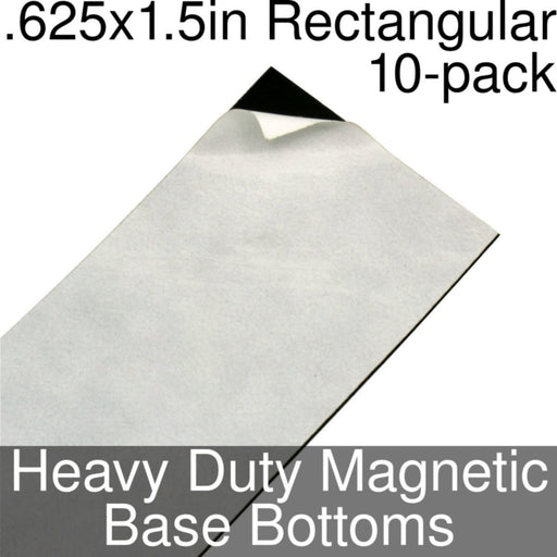 Miniature Base Bottoms, Rectangular, .625x1.5inch, Heavy Duty Magnet (10) - LITKO Game Accessories