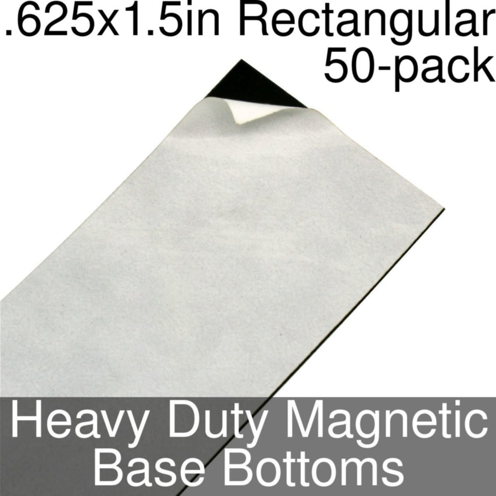 Miniature Base Bottoms, Rectangular, .625x1.5inch, Heavy Duty Magnet (50) - LITKO Game Accessories