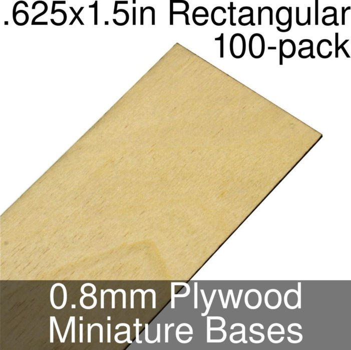 Miniature Bases, Rectangular, .625x1.5inch, 0.8mm Plywood (100) - LITKO Game Accessories