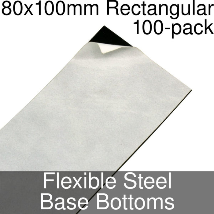 Miniature Base Bottoms, Rectangular, 80x100mm, Flexible Steel (100) - LITKO Game Accessories