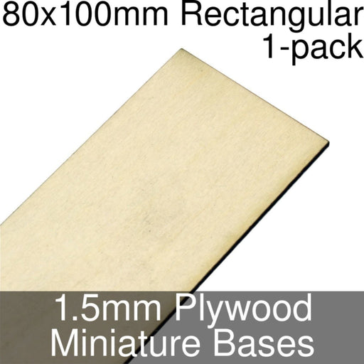 Miniature Bases, Rectangular, 80x100mm, 1.5mm Plywood (1) - LITKO Game Accessories