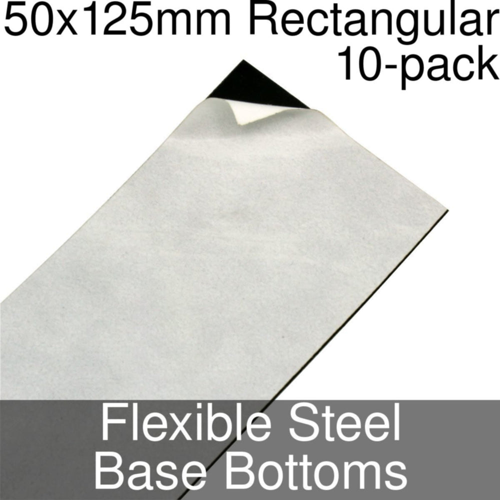 Miniature Base Bottoms, Rectangular, 50x125mm, Flexible Steel (10) - LITKO Game Accessories
