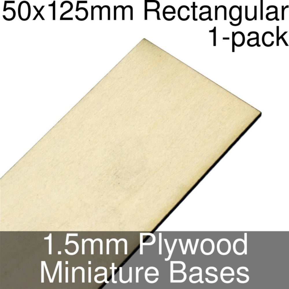 Miniature Bases, Rectangular, 50x125mm, 1.5mm Plywood (1) - LITKO Game Accessories