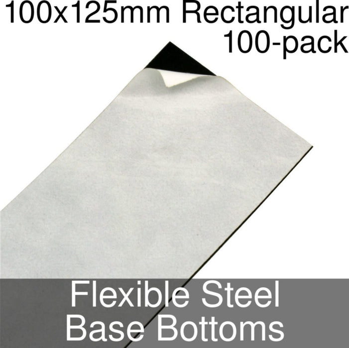 Miniature Base Bottoms, Rectangular, 100x125mm, Flexible Steel (100) - LITKO Game Accessories