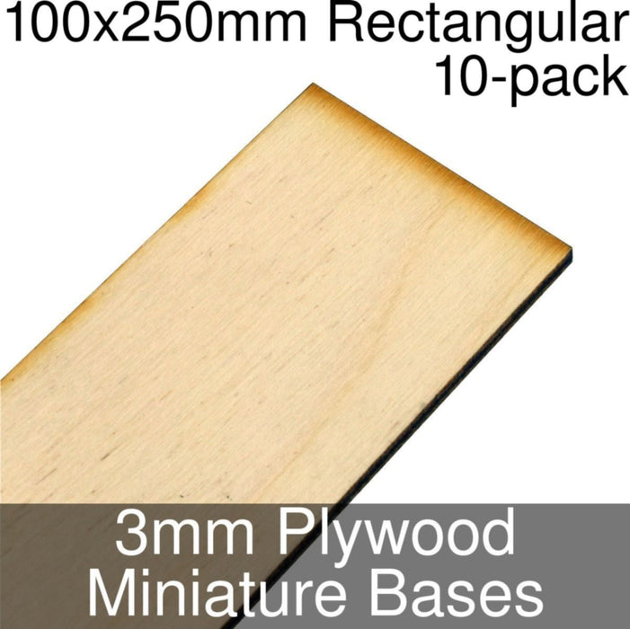 Miniature Bases, Rectangular, 100x250mm, 3mm Plywood (10) - LITKO Game Accessories
