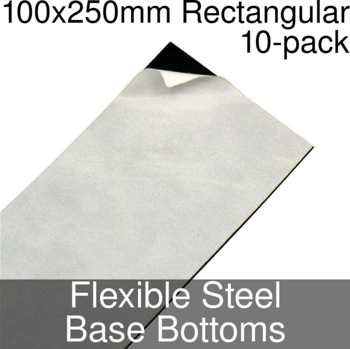 Miniature Base Bottoms, Rectangular, 100x250mm, Flexible Steel (10) - LITKO Game Accessories