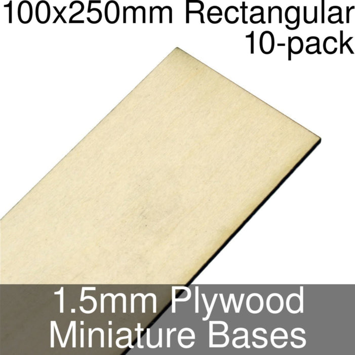 Miniature Bases, Rectangular, 100x250mm, 1.5mm Plywood (10) - LITKO Game Accessories