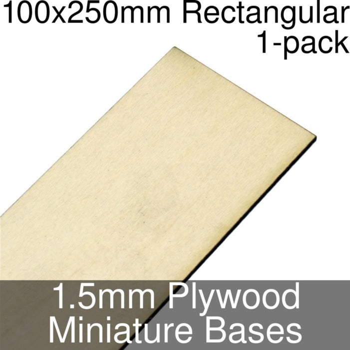 Miniature Bases, Rectangular, 100x250mm, 1.5mm Plywood (1) - LITKO Game Accessories