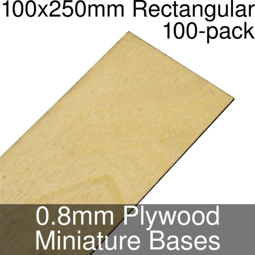 Miniature Bases, Rectangular, 100x250mm, 0.8mm Plywood (100) - LITKO Game Accessories