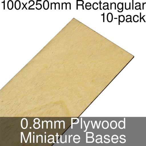 Miniature Bases, Rectangular, 100x250mm, 0.8mm Plywood (10) - LITKO Game Accessories