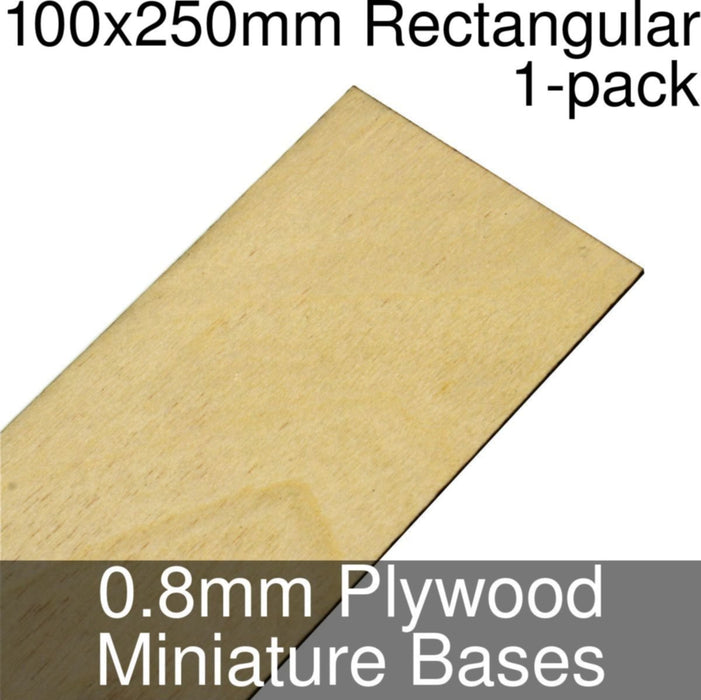 Miniature Bases, Rectangular, 100x250mm, 0.8mm Plywood (1) - LITKO Game Accessories