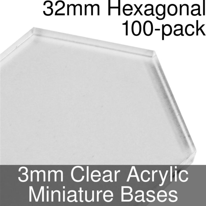 Miniature Bases, Hexagonal, 32mm, 3mm Clear (100) - LITKO Game Accessories