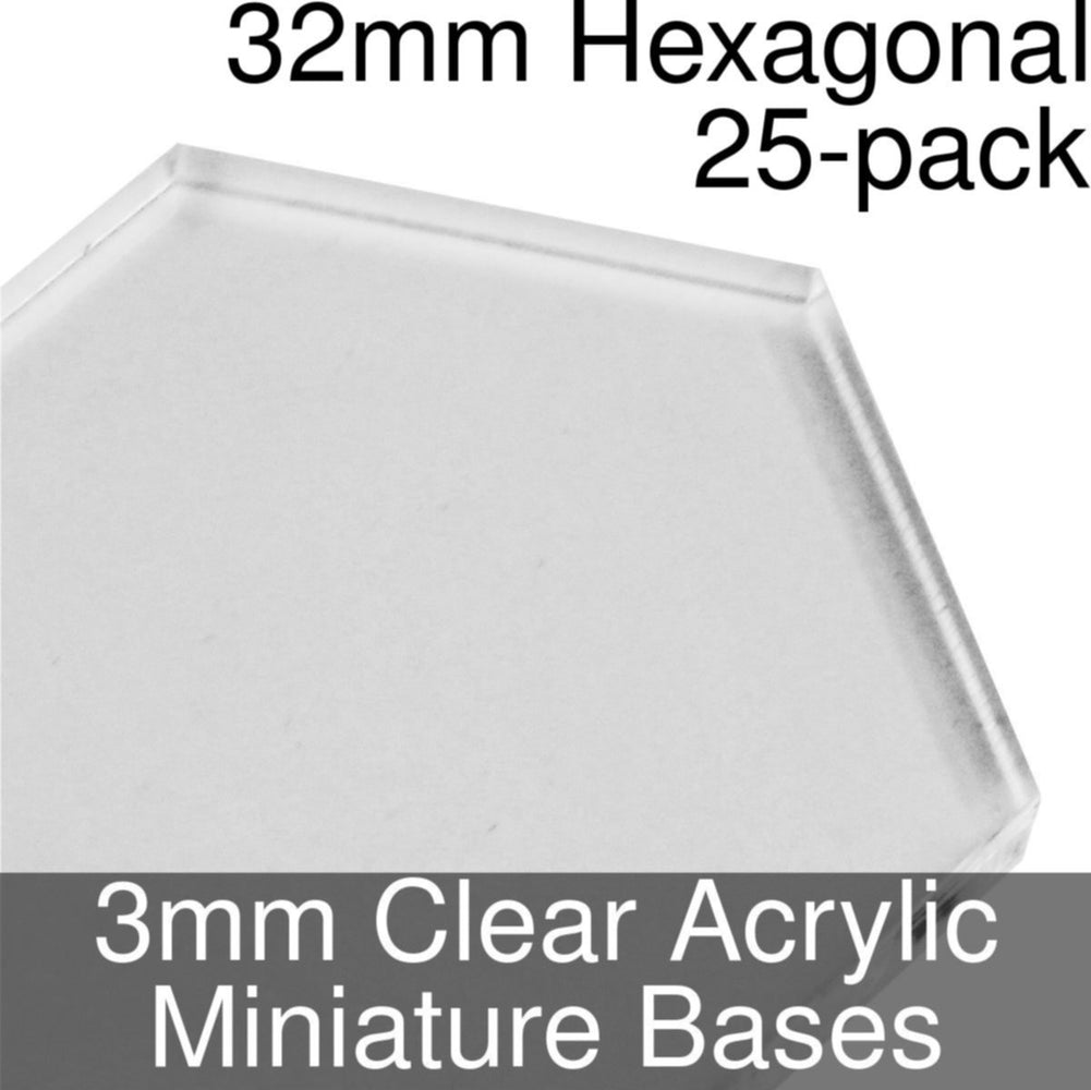 Miniature Bases, Hexagonal, 32mm, 3mm Clear (25) - LITKO Game Accessories