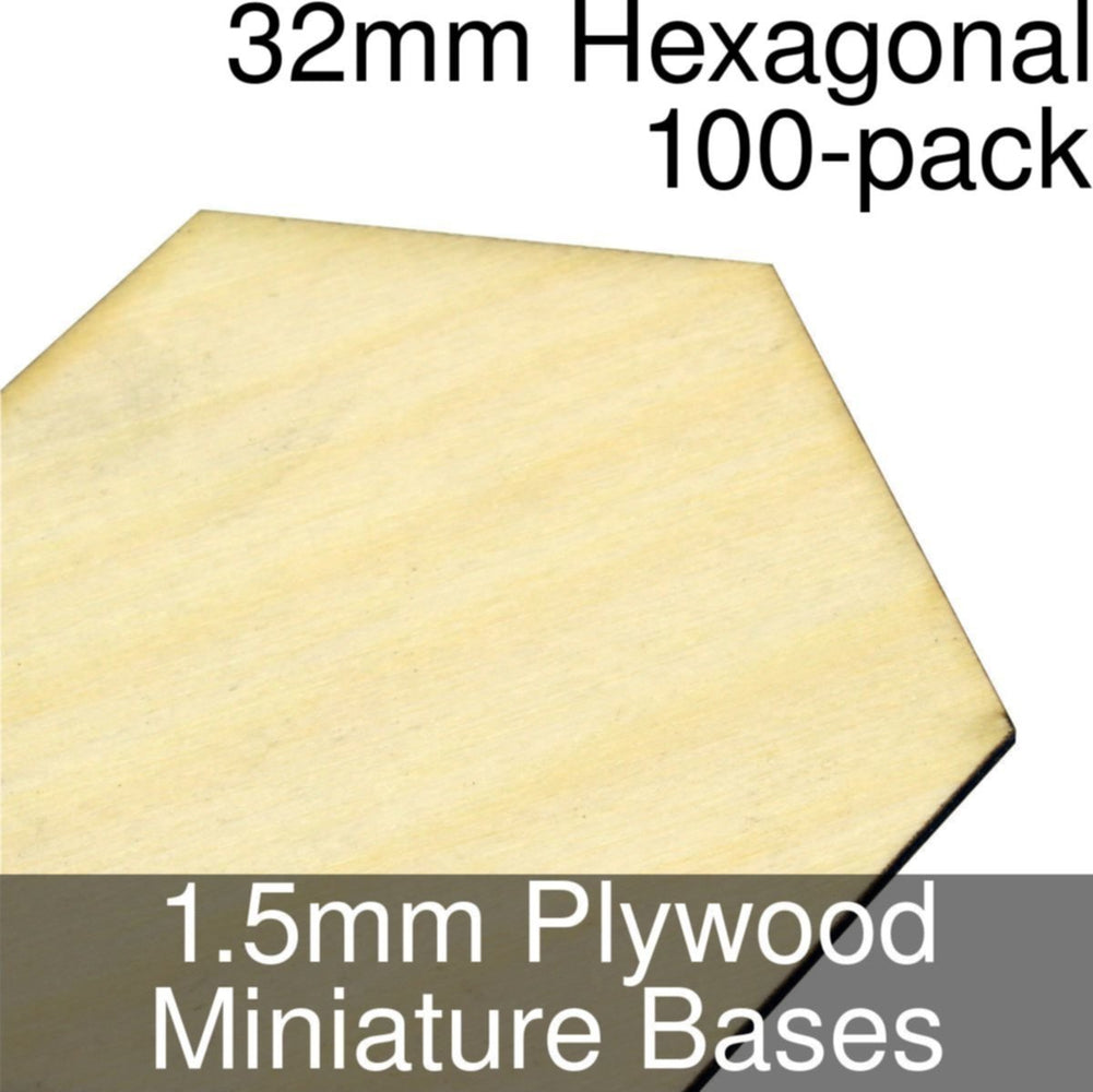 Miniature Bases, Hexagonal, 32mm, 1.5mm Plywood (100) - LITKO Game Accessories