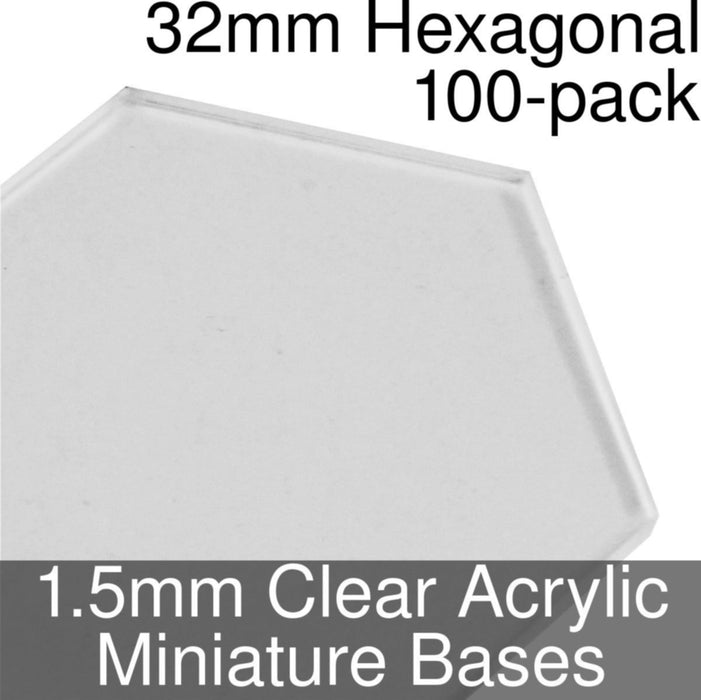 Miniature Bases, Hexagonal, 32mm, 1.5mm Clear (100) - LITKO Game Accessories
