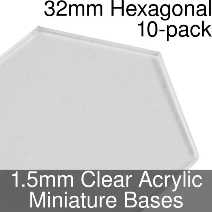 Miniature Bases, Hexagonal, 32mm, 1.5mm Clear (10) - LITKO Game Accessories