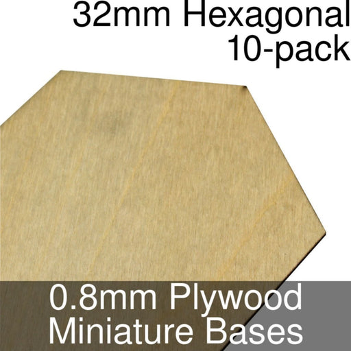 Miniature Bases, Hexagonal, 32mm, 0.8mm Plywood (10) - LITKO Game Accessories