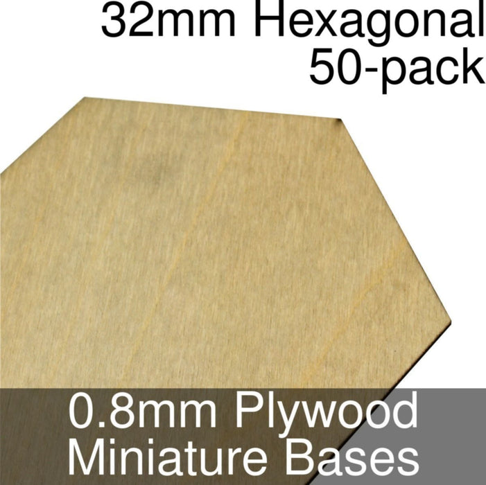 Miniature Bases, Hexagonal, 32mm, 0.8mm Plywood (50) - LITKO Game Accessories