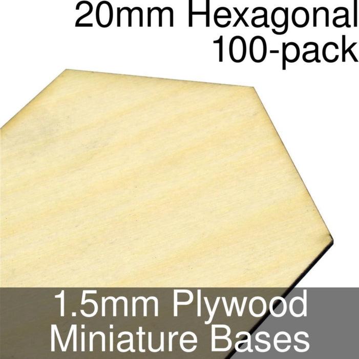 Miniature Bases, Hexagonal, 20mm, 1.5mm Plywood (100) - LITKO Game Accessories
