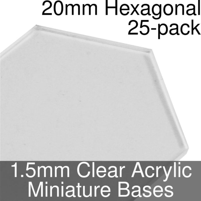 Miniature Bases, Hexagonal, 20mm, 1.5mm Clear (25) - LITKO Game Accessories