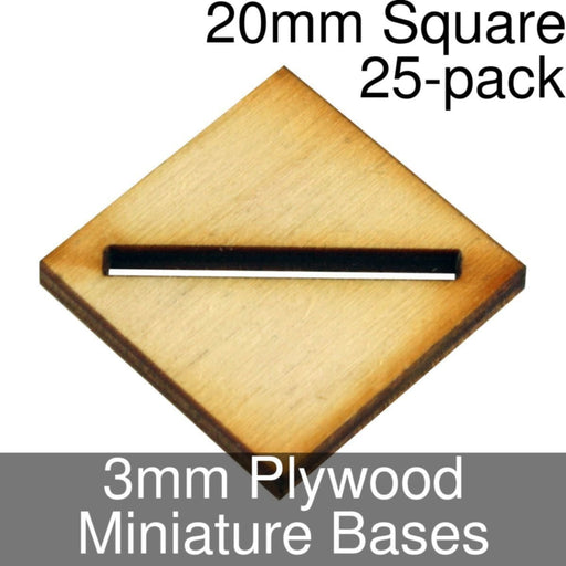 Miniature Bases, Square, 20mm (Diagonal Slotted), 3mm Plywood (25) - LITKO Game Accessories