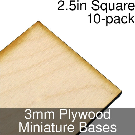 Miniature Bases, Square, 2.5inch, 3mm Plywood (10) - LITKO Game Accessories