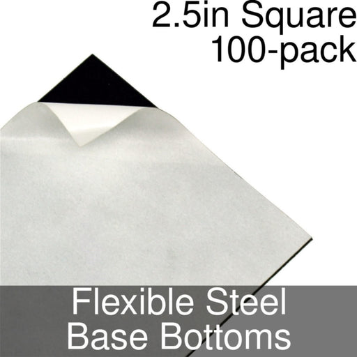 Miniature Base Bottoms, Square, 2.5inch, Flexible Steel (100) - LITKO Game Accessories