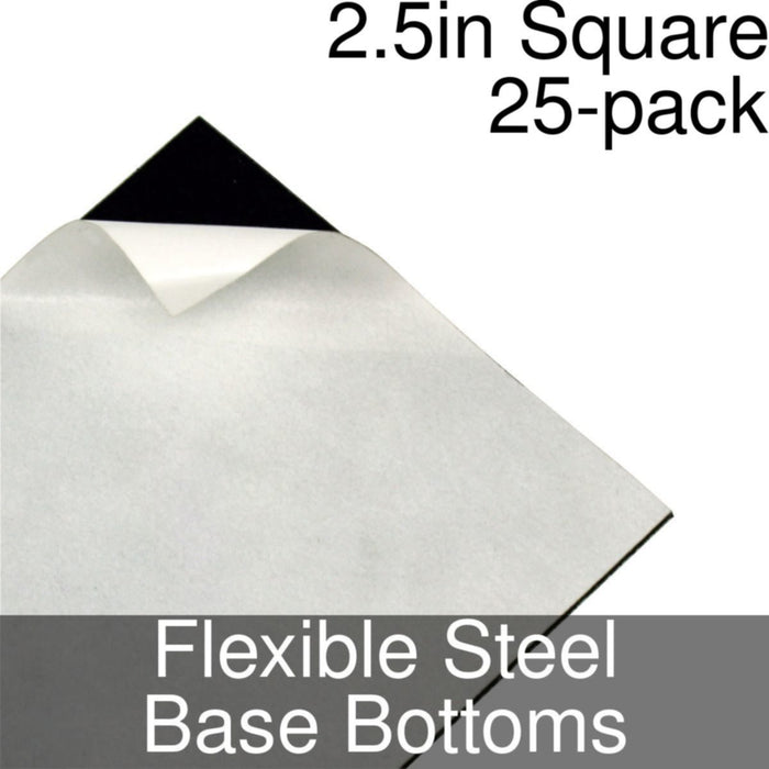 Miniature Base Bottoms, Square, 2.5inch, Flexible Steel (25) - LITKO Game Accessories