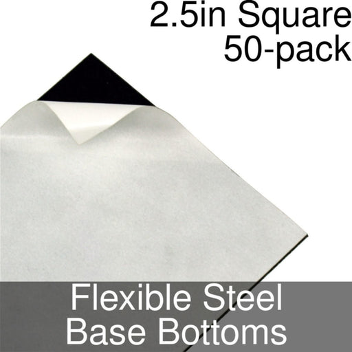 Miniature Base Bottoms, Square, 2.5inch, Flexible Steel (50) - LITKO Game Accessories