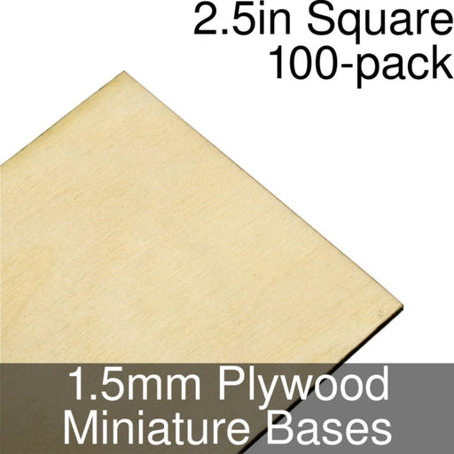 Miniature Bases, Square, 2.5inch, 1.5mm Plywood (100) - LITKO Game Accessories