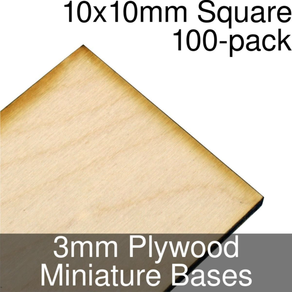 Miniature Bases, Square, 10x10mm, 3mm Plywood (100) - LITKO Game Accessories