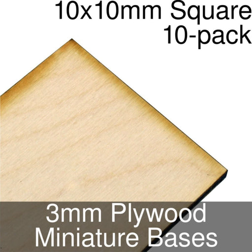 Miniature Bases, Square, 10x10mm, 3mm Plywood (10) - LITKO Game Accessories