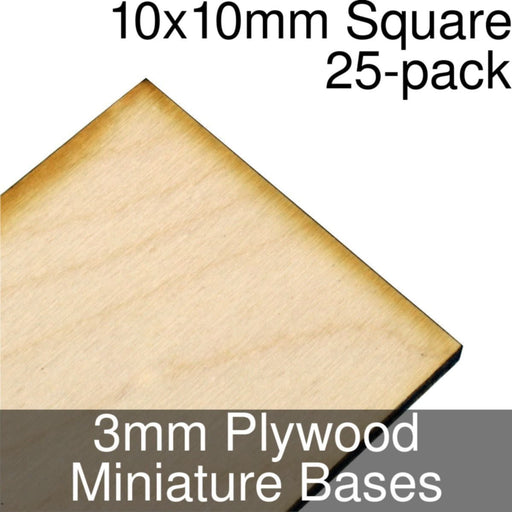 Miniature Bases, Square, 10x10mm, 3mm Plywood (25) - LITKO Game Accessories