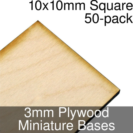 Miniature Bases, Square, 10x10mm, 3mm Plywood (50) - LITKO Game Accessories