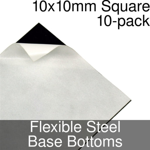Miniature Base Bottoms, Square, 10x10mm, Flexible Steel (10) - LITKO Game Accessories