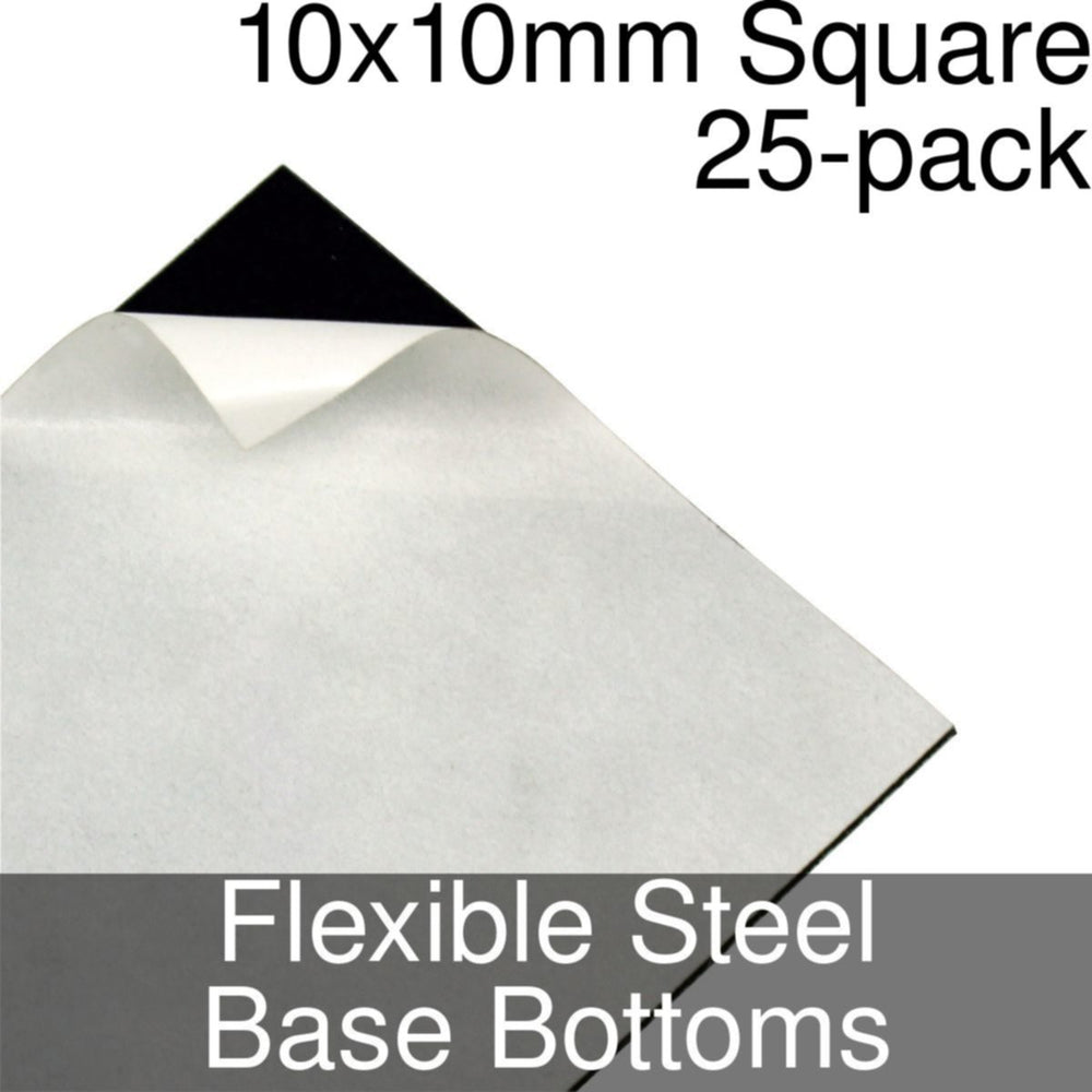 Miniature Base Bottoms, Square, 10x10mm, Flexible Steel (25) - LITKO Game Accessories