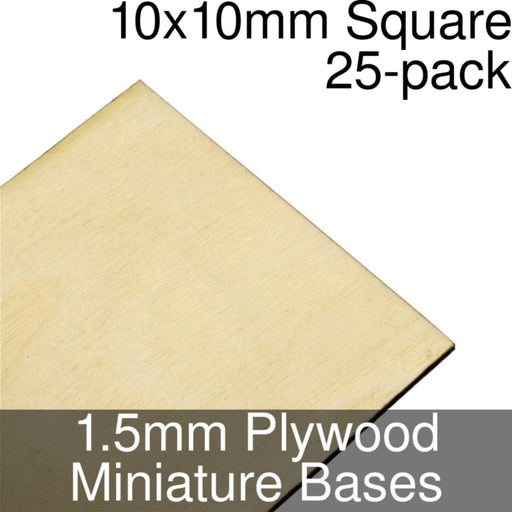 Miniature Bases, Square, 10x10mm, 1.5mm Plywood (25) - LITKO Game Accessories