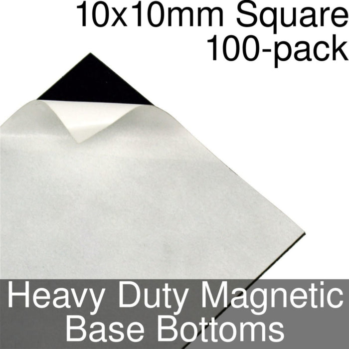 Miniature Base Bottoms, Square, 10x10mm, Heavy Duty Magnet (100) - LITKO Game Accessories