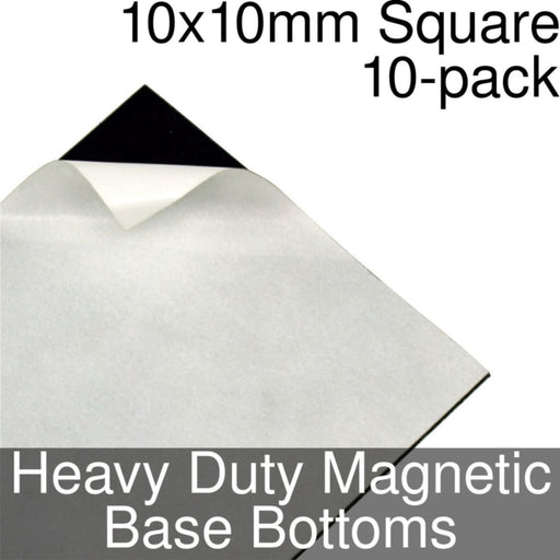 Miniature Base Bottoms, Square, 10x10mm, Heavy Duty Magnet (10) - LITKO Game Accessories