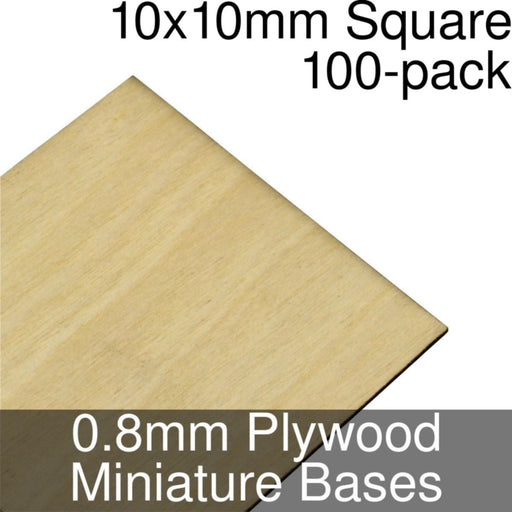 Miniature Bases, Square, 10x10mm, 0.8mm Plywood (100) - LITKO Game Accessories