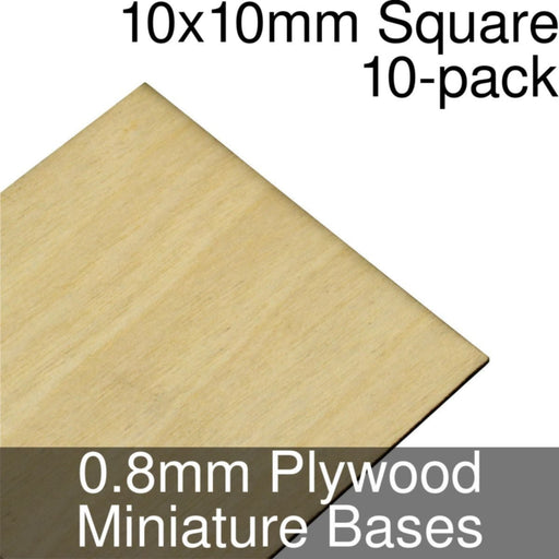 Miniature Bases, Square, 10x10mm, 0.8mm Plywood (10) - LITKO Game Accessories